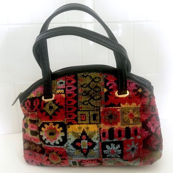 Vintage 70's rainbow floral tapestry rug bag purse